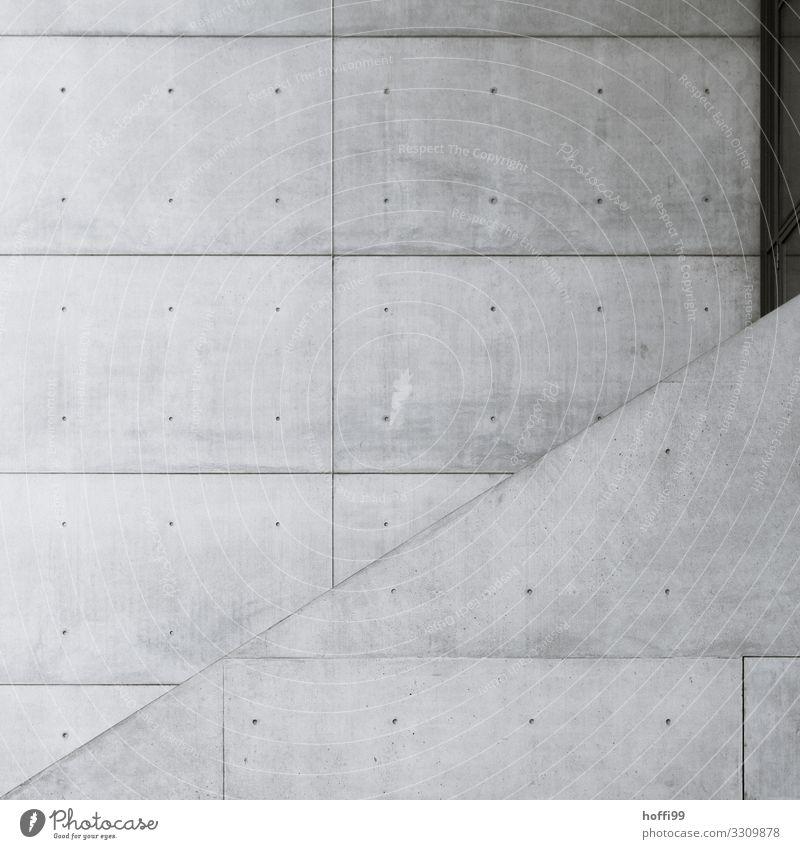 zwei Fassaden aus Sichtbeton mit Aufgabe im Profil Gebäude Architektur Mauer Wand Beton Linie ästhetisch Coolness kalt modern nackt trist trocken Stadt