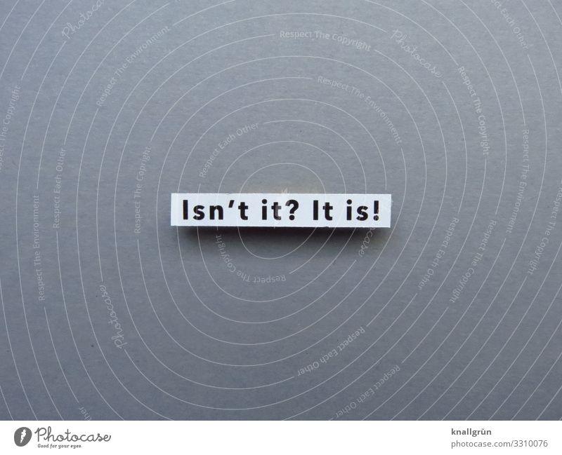Isn't it? It is! weiß schwarz grau Schriftzeichen Kommunizieren Schilder & Markierungen Fragen Englisch Zustimmung bestätigen