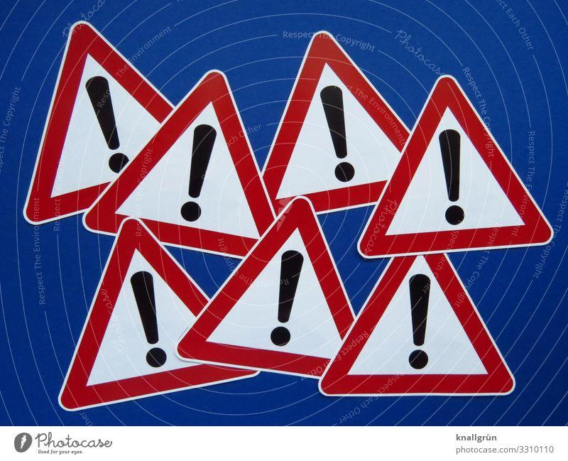 Verkehrszeichen 101 blau weiß rot schwarz Kommunizieren bedrohlich Zeichen Neugier Schutz Sicherheit Wachsamkeit Warnhinweis Erwartung Verkehrsschild
