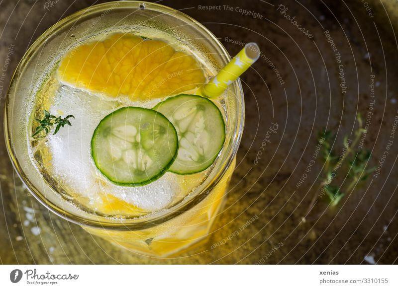 Detoxgetränk im Glas mit Orange, Gurke und Thymian Kräuter & Gewürze Eiswürfel Bioprodukte Vegetarische Ernährung Diät Getränk trinken Erfrischungsgetränk