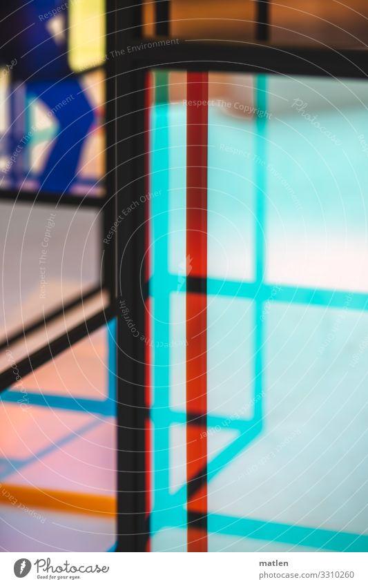Stand allone Mann Erwachsene Beine 1 Mensch stehen blau mehrfarbig gelb orange rot türkis Glas Schaufenster Metall Farbfoto Innenaufnahme Nahaufnahme Experiment