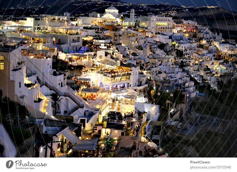 Santorin bei Nacht Ferien & Urlaub & Reisen Stadt schön Lifestyle Feste & Feiern Stil Kunst Tourismus Party Stimmung Ausflug Design träumen Fröhlichkeit