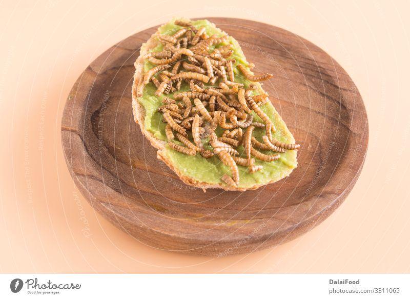 Sandwich aus Speisewürmern mit Avocado Brot Wurm Diät essbar braten Guacamole Insekt Larve Protein Belegtes Brot Farbfoto