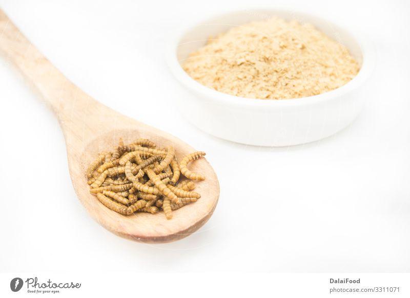 Wurmmehl in Holzlöffel und weißem Hintergrund Kochlöffel Diät essbar Mehl braten Insekt vereinzelt Larve Protein weißer Hintergrund Farbfoto