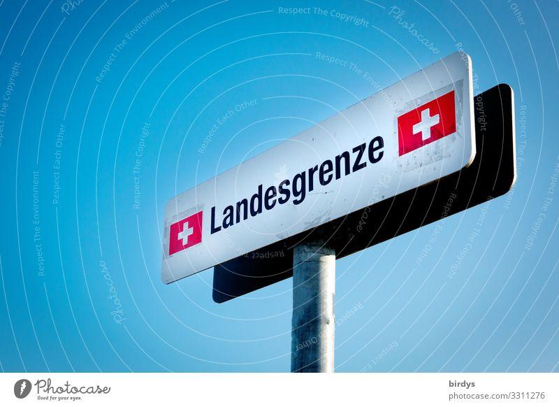 Landesgrenze Schweiz blau weiß rot schwarz Wege & Pfade Schriftzeichen Schilder & Markierungen authentisch Hinweisschild Zeichen Geld Sauberkeit Grenze Reichtum