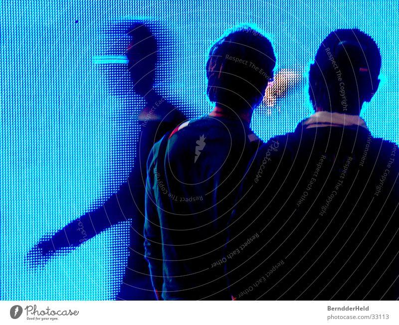 Pixel blau Bewegung Menschengruppe groß Bildschirm Gottesdienst Messe Ausstellung Bildpunkt TFT-Bildschirm Photokina
