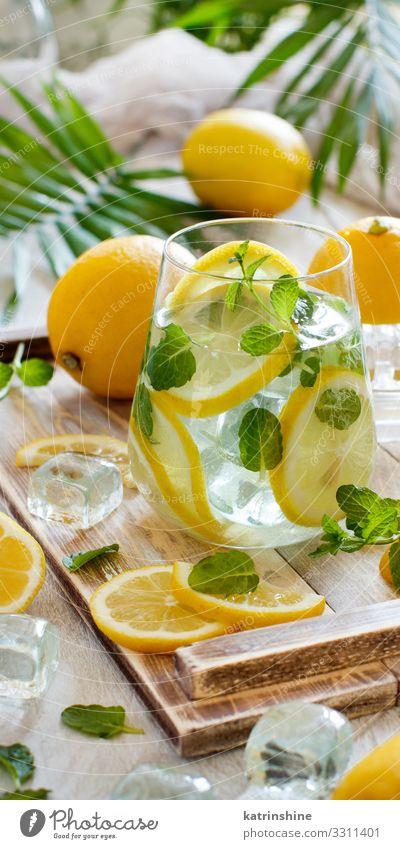 Hausgemachte erfrischende Limonade Frucht Getränk Saft Sommer Blatt natürlich gelb grün weiß Zitrone Minze orange Zitrusfrüchte Glas Palma de Mallorca tropisch