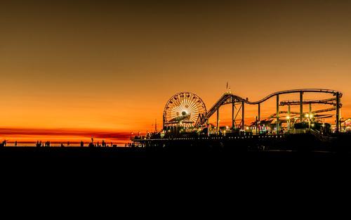 es wird nacht in santa monica Silhouette Erholung Ferien & Urlaub & Reisen Strand Sonnenuntergang Route 66 Los Angeles Venice Pacific Ocean Park USA