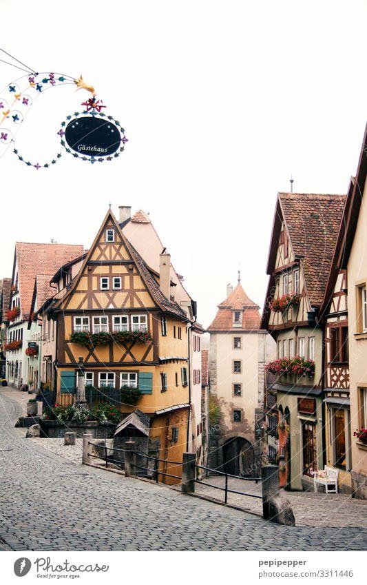 Rothenburg ob der Tauber Ferien & Urlaub & Reisen Tourismus Städtereise Häusliches Leben Wohnung Haus Kleinstadt Stadtzentrum Altstadt Burg oder Schloss Bauwerk