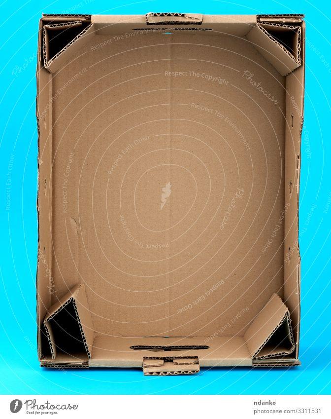 rechteckige leere Pappschachtel Büro Handwerk Gesäß Verkehr Container Papier Verpackung Paket natürlich retro Sauberkeit blau braun gelb Kasten Kiste Lager