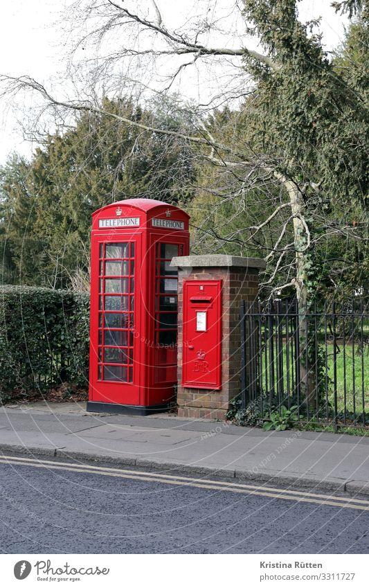 british boxes Tourismus Post Telekommunikation Telefon Briefkasten Straße schreiben Telefongespräch retro rot Kommunizieren Nostalgie Telefonzelle Englisch