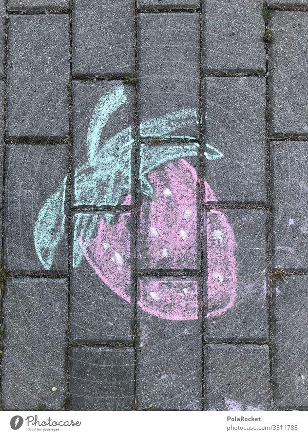 #A0# Asphalt-Erdbeere Kunst ästhetisch Erdbeeren Erdbeereis Streetlife Straßenkunst Malkreide malen Kindheit Kindheitserinnerung lecker Farbfoto mehrfarbig