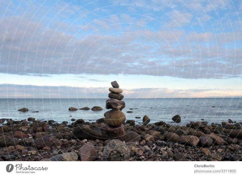 Steinmännchen Natur Wasser Landschaft Meer Erholung Wolken ruhig Ferne Strand Frühling natürlich Küste Freiheit Zufriedenheit Horizont