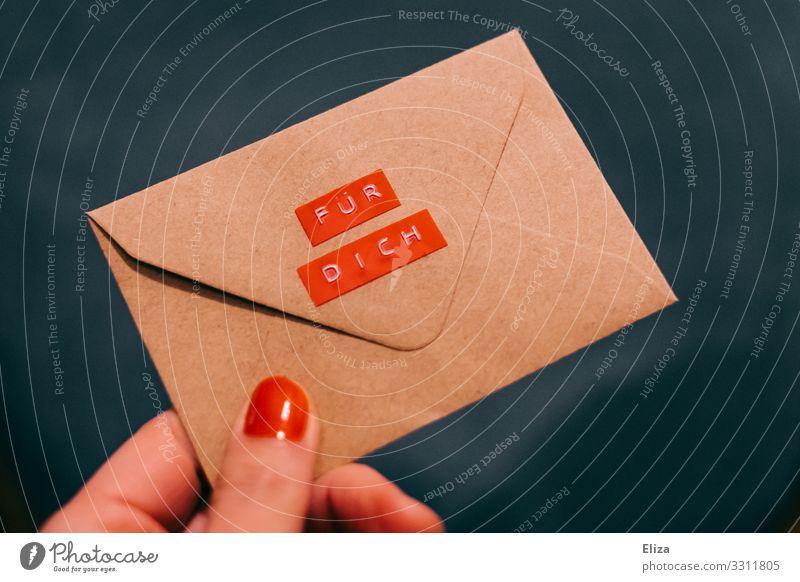 Da nimm! blau rot Hand Geburtstag Information Brief Valentinstag Post Etikett schenken geben Briefumschlag