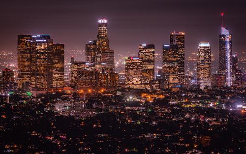 Los Angeles II Kalifornien Amerika USA Skyline Nacht dunkel Beleuchtung Hollywood Stadt Langzeitbelichtung Weitwinkel Lichtermeer