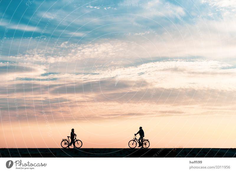 Treffpunkt auf dem Deich bei Sonnenuntergang Mensch Natur blau Landschaft Freude Strand Erwachsene gelb Gefühle Küste Paar Tourismus Freundschaft elegant