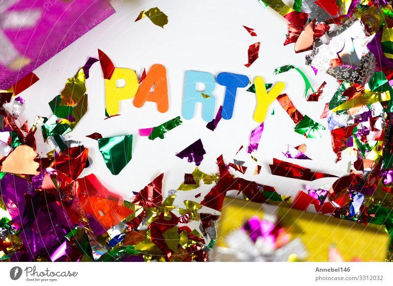 Buntes Konfetti und Geschenke mit dem Wort Party, Design Freude Glück Dekoration & Verzierung Entertainment Feste & Feiern Geburtstag Hut Papier Schnur glänzend