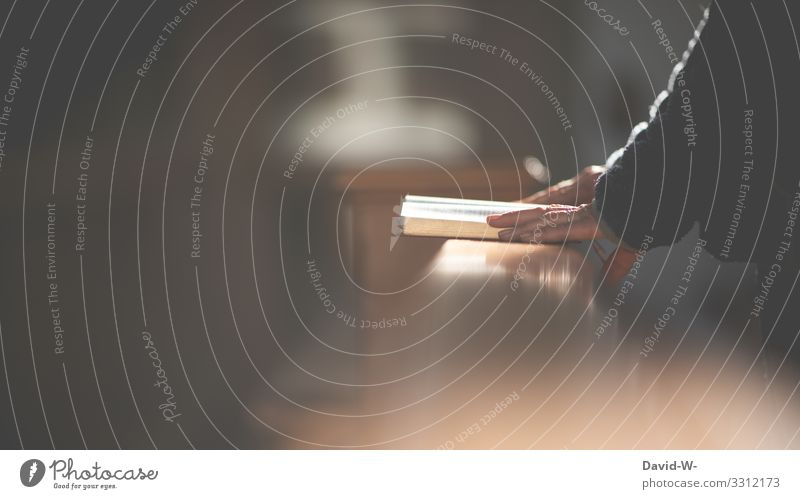 Kirchengänger in einer Kirchenbank Gotteslob Kirchenfenster Testament Religion & Glaube Buch Gebet Götter lesen Gotteshäuser Vertrauen Jesus Christus Hoffnung