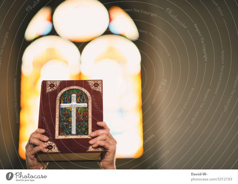 Hände halten ein Gottesbuch in die Höhe und im Hintergrund scheint Licht durch das Kirchenfenster Gotteslob Bibel Testament Religion & Glaube Buch Gebet Götter