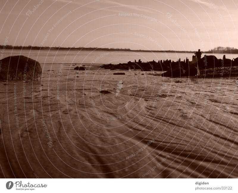 flussbett Schlamm Wasser Wattenmeer Stein Himmel Sonne Sepia