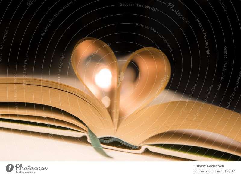 Buchseiten ins Herz gefaltet Stil Design schön lesen Tisch Valentinstag Kunst Papier Liebe retro schwarz weiß Romantik Farbe Idee Hintergrund Beautyfotografie