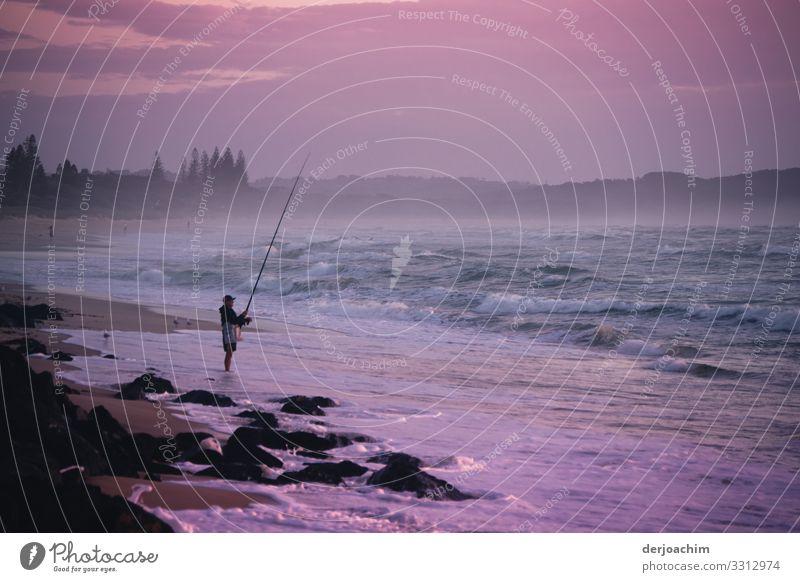 Morgens beim Angeln Mensch Sommer Meer Erholung Freude Erwachsene Umwelt Sport Familie & Verwandtschaft Freizeit & Hobby maskulin Körper Metall 45-60 Jahre