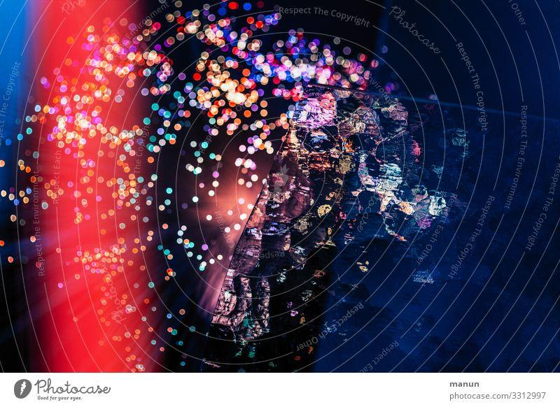 Lichtspielerei blau rot Feste & Feiern Party Stimmung leuchten glänzend Fröhlichkeit Kreativität fantastisch Veranstaltung Silvester u. Neujahr Karneval Club