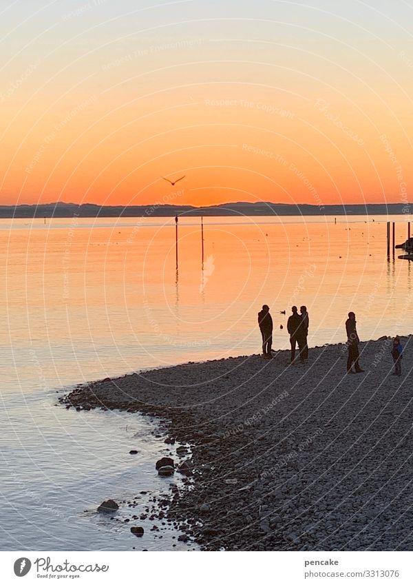 talk am see Mensch Himmel Natur Wasser Landschaft Winter sprechen Menschengruppe See Horizont Kommunizieren genießen Schönes Wetter Seeufer Urelemente