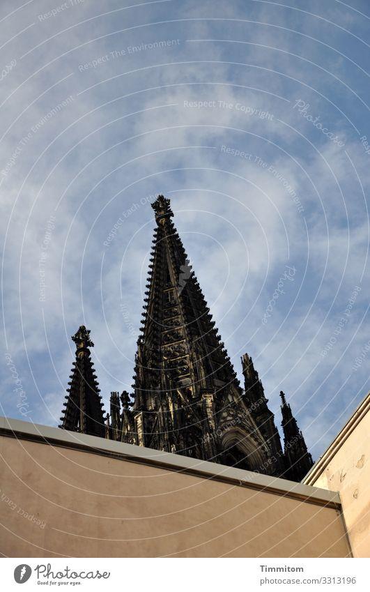 Blick nach oben Städtereise Himmel Schönes Wetter Köln Bauwerk Gebäude Architektur Sehenswürdigkeit Wahrzeichen Denkmal Kölner Dom Stein Beton blau braun gelb