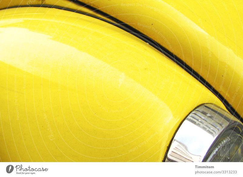 alt   Auto weckt Erinnerungen gelb erinnerungen Blech Kotflügel Licht Chrom glänzend Oldtimer Lampe Verkehr Linien