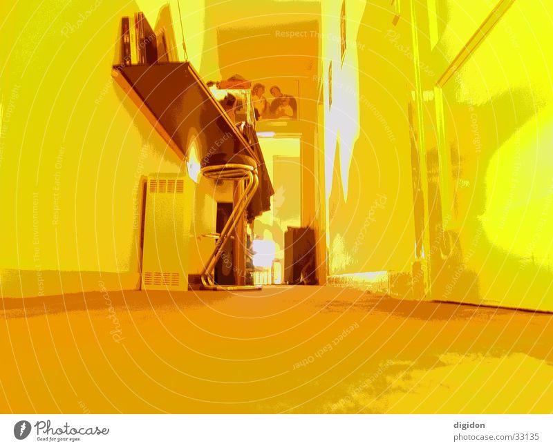 Yellow eye Raum gelb Weitwinkel Wohnung Fototechnik Tür