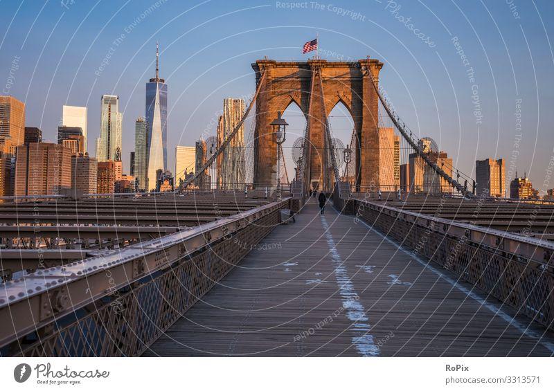 Sonnenaufgang auf der Brooklyn Bridge. Lifestyle Wellness Leben Ferien & Urlaub & Reisen Tourismus Sightseeing Städtereise wandern Bildung Wirtschaft Industrie