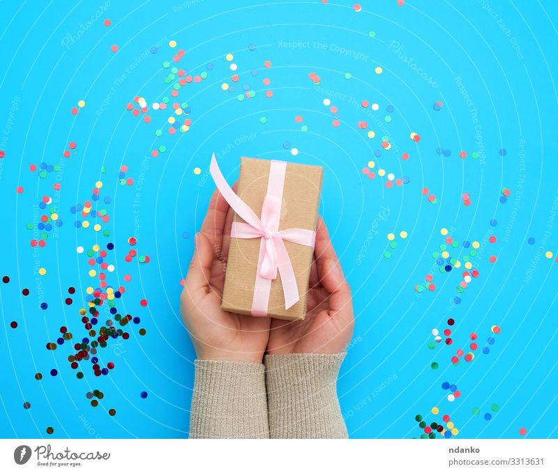 braune Schachtel mit rosa Schleife Design Dekoration & Verzierung Feste & Feiern Valentinstag Muttertag Weihnachten & Advent Silvester u. Neujahr Hochzeit