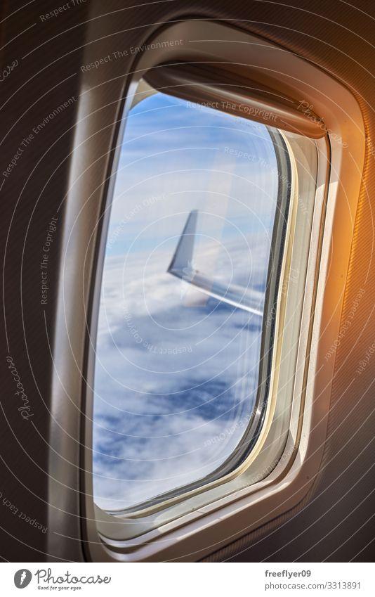Ansicht des Flügels einer Ebene aus dem Fenster heraus Ferien & Urlaub & Reisen Tourismus Ausflug Abenteuer Ferne Freiheit Business Technik & Technologie