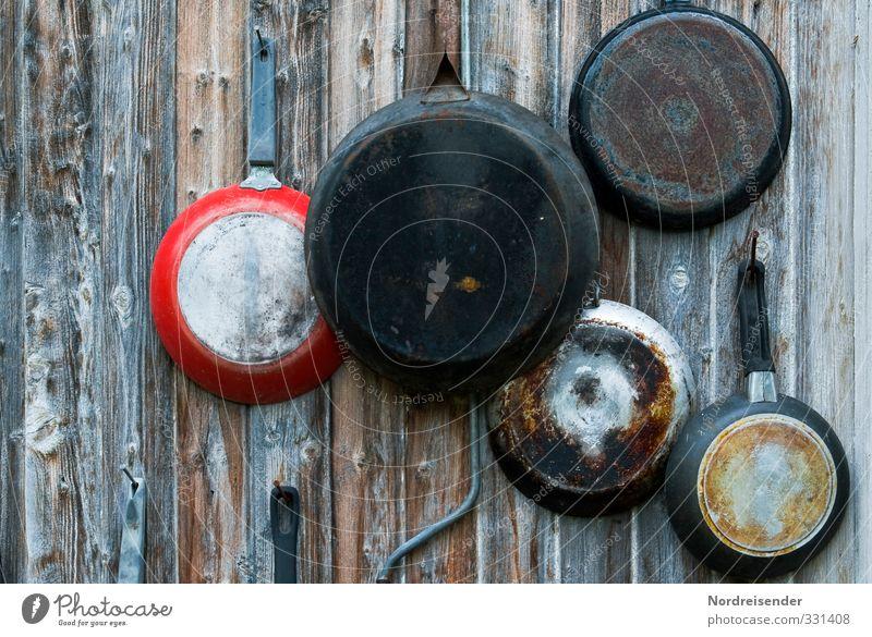 Krimskram Wand Mauer Holz Metall Fassade Häusliches Leben Dekoration & Verzierung Fröhlichkeit Ernährung Kreativität einzigartig Kochen & Garen & Backen Kitsch