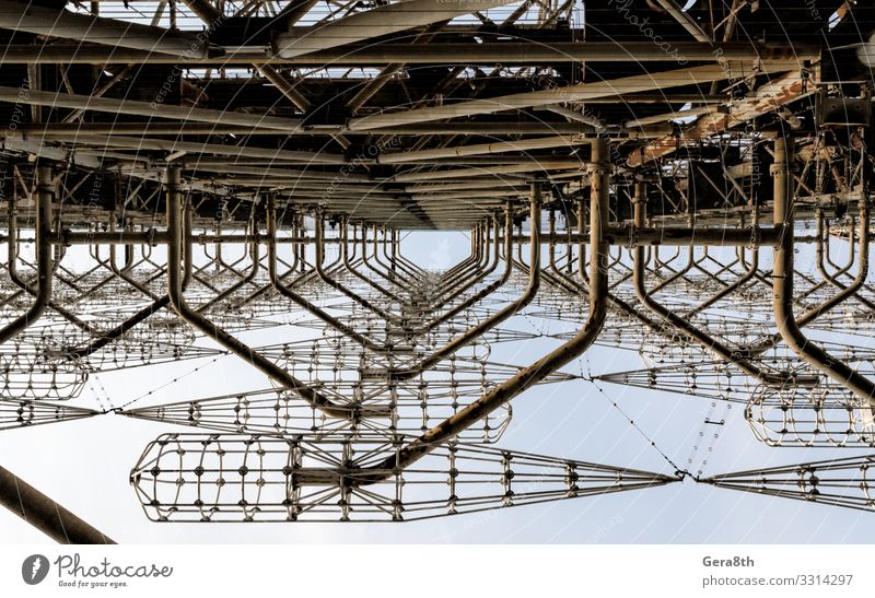 alte geheime Antenne für den sowjetischen Bau in Tschernobyl Design Ferien & Urlaub & Reisen Tourismus Ausflug Himmel Wolken Herbst Metall Linie bedrohlich groß