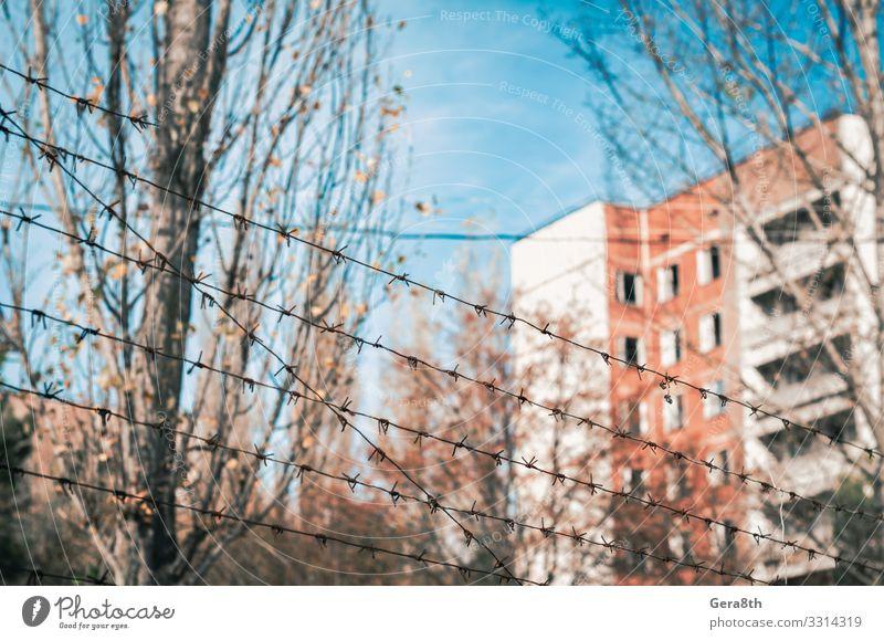 Stacheldrahtzaun und ein verlassenes Haus in Tschernobyl Ferien & Urlaub & Reisen Tourismus Ausflug Pflanze Himmel Wolken Herbst Baum Blatt Gebäude Straße