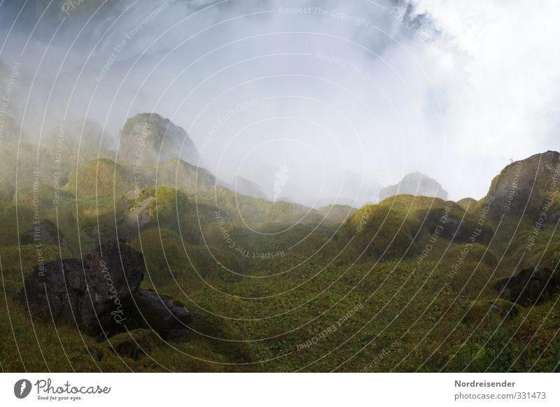 Elementar Ferien & Urlaub & Reisen Wasser Ferne Berge u. Gebirge Stein außergewöhnlich Felsen Regen Wetter Nebel Klima nass Urelemente Abenteuer