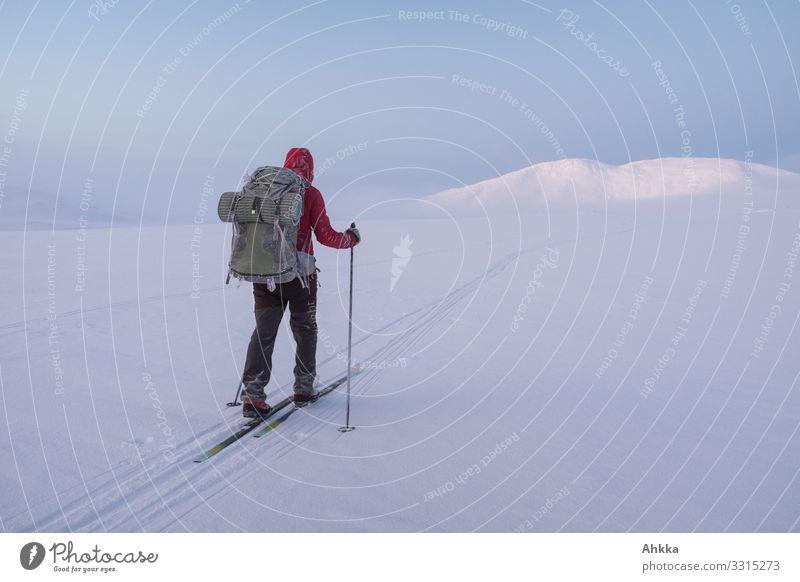 Into the wild Mensch Ferien & Urlaub & Reisen Natur ruhig Winter Ferne Berge u. Gebirge kalt natürlich Wege & Pfade Schnee Eis Abenteuer Perspektive Beginn