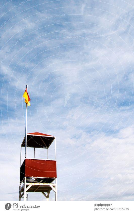 lifeguard Ferien & Urlaub & Reisen Tourismus Abenteuer Ferne Freiheit Sommer Sommerurlaub Strand Meer Himmel Schönes Wetter Wellen Küste Hütte Hinweisschild