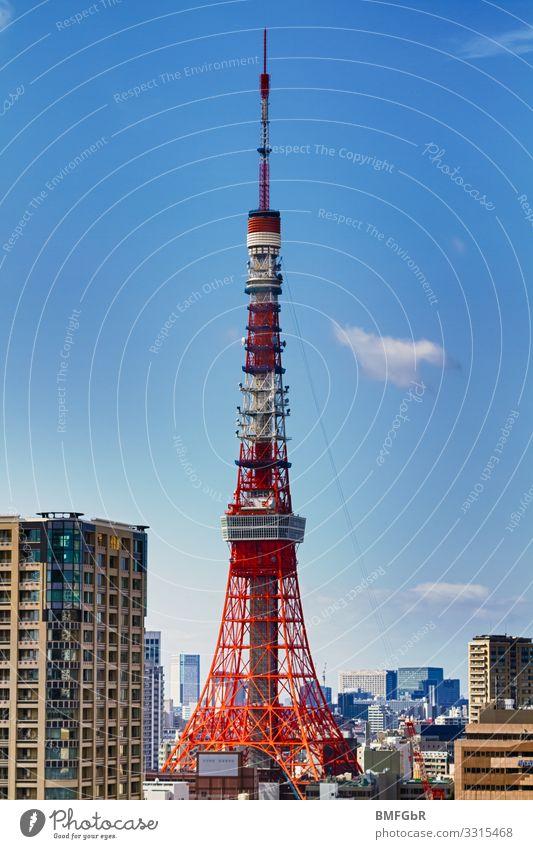 Tokyo Tower Himmel Ferien & Urlaub & Reisen rot Ferne Architektur Gebäude Tourismus Ausflug Hochhaus Zukunft hoch Turm Sehenswürdigkeit Wahrzeichen Bauwerk