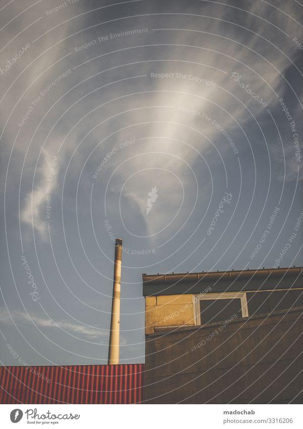 Industrie Himmel Wolken Architektur Gebäude Arbeit & Erwerbstätigkeit Energiewirtschaft Technik & Technologie trist gefährlich groß Klima Turm Bauwerk