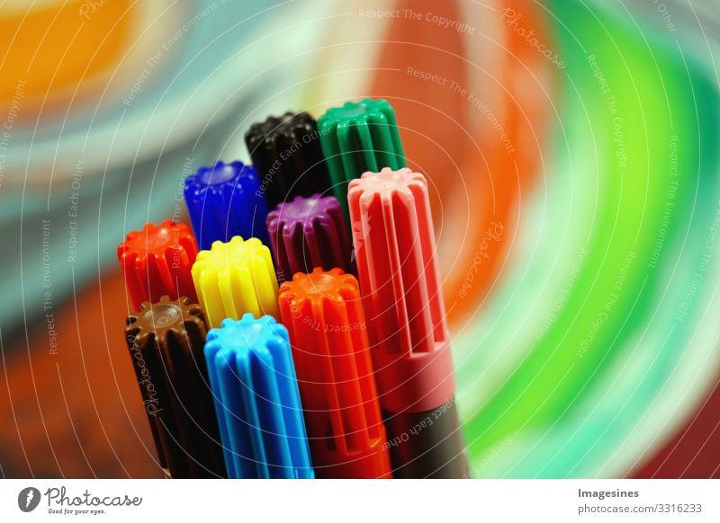 "Filzstifte Schule lernen Büro Farbstift mehrfarbig ""farbig Hintergrund Textfreiraum Büromaterial Schulprojekt abstrakt Design bunt Büro & Office"