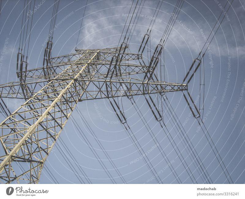Strommast Energiewirtschaft Kraft Erfolg Industrie Klima Elektrizität Macht Höhenangst Netzwerk Kontrolle Stolz Konkurrenz Hochspannungsleitung Hochmut