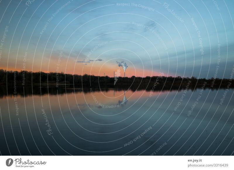 Abendlicht Energiewirtschaft Erneuerbare Energie Kohlekraftwerk Energiekrise Industrie Umwelt Natur Landschaft Himmel Horizont Sonnenaufgang Sonnenuntergang