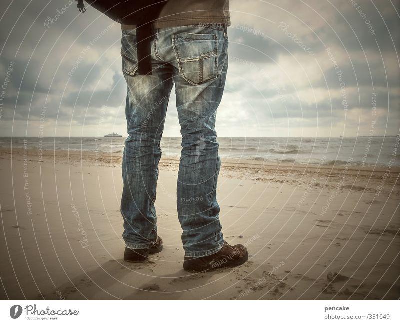 Rømø | dein schiff wird kommen Mensch Himmel Natur Mann Wasser Meer Landschaft Wolken Strand Erwachsene Küste Sand Beine Horizont Wasserfahrzeug Musik