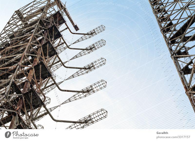 geheimes Armeeradar in Tschernobyl Ferien & Urlaub & Reisen Tourismus Ausflug Technik & Technologie Himmel Herbst Antenne Metall alt bedrohlich groß hoch blau