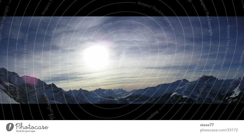 Panorama Himmel Sonne Schnee Berge u. Gebirge groß Panorama (Bildformat)