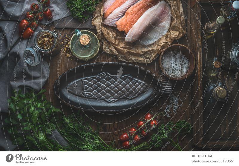 Fisch Gerichte zubereiten Lebensmittel Gemüse Kräuter & Gewürze Öl Ernährung Bioprodukte Vegetarische Ernährung Diät Geschirr Stil Gesunde Ernährung