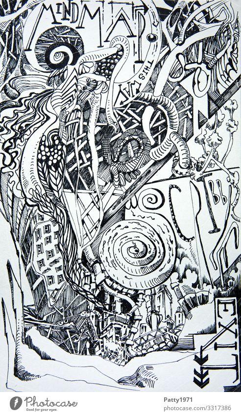 Mind Map Kunst Kreativität fantastisch Irritation Surrealismus Zeichnung bizarr komplex Kritzelei